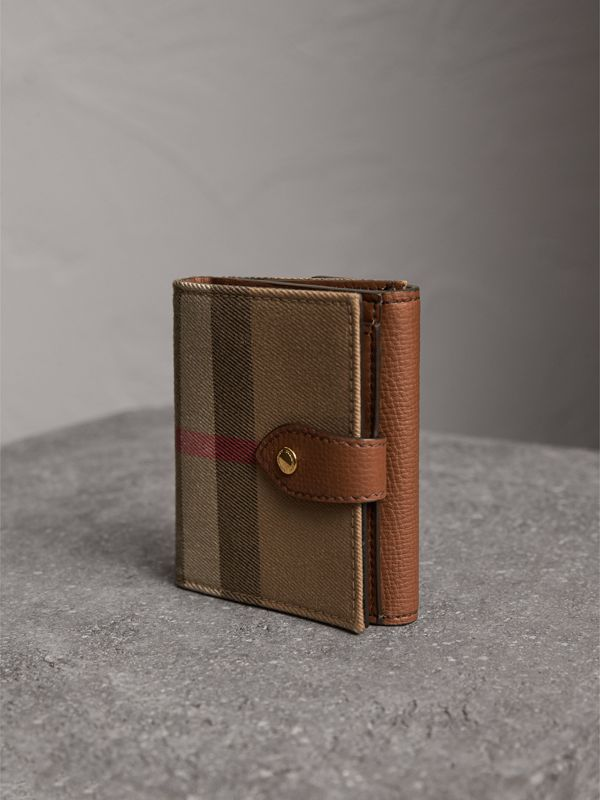 House Check and Leather Wallet in Tan - Women | Burberry United Kingdom - cell image 2