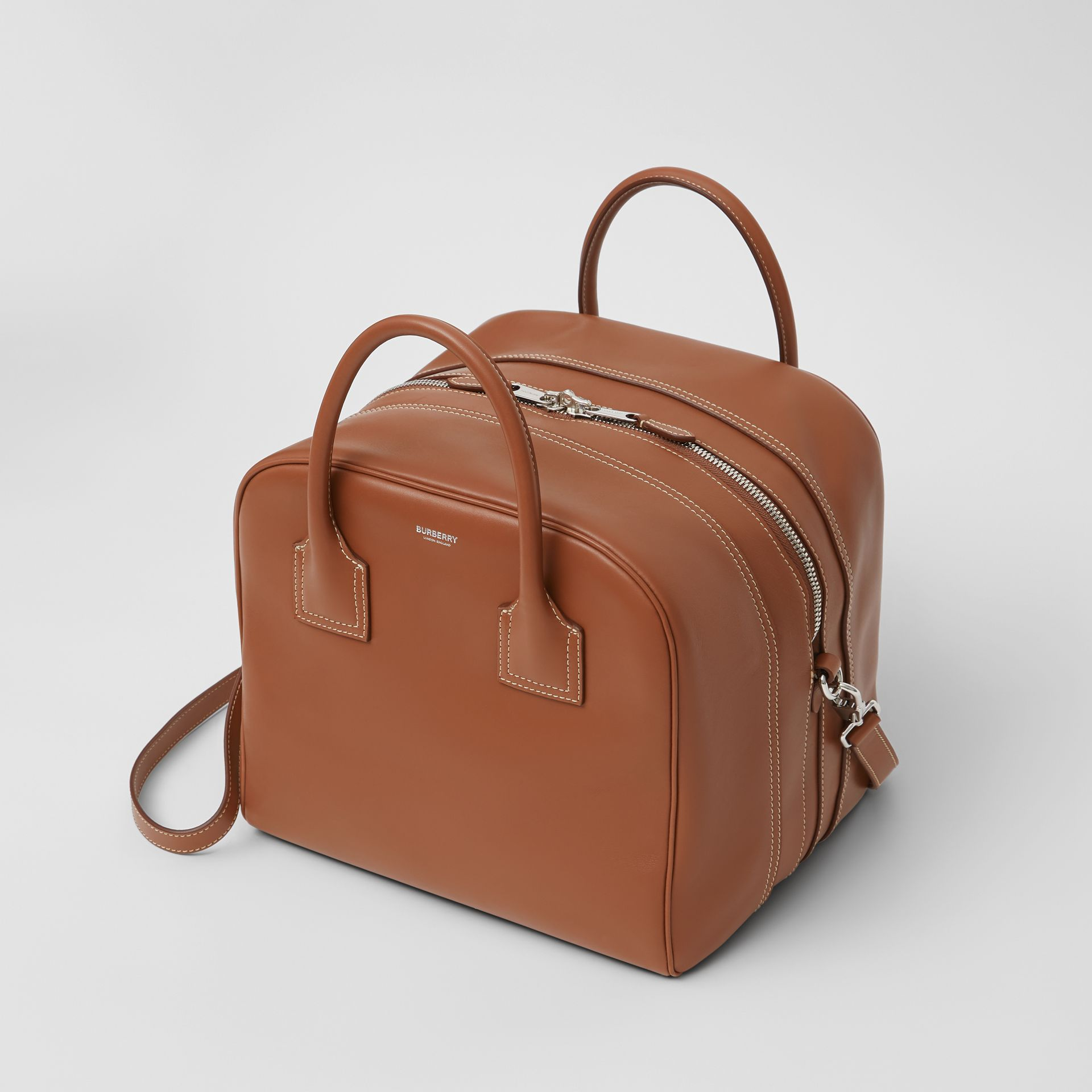 Medium Leather Cube Bag in Malt Brown - Women | Burberry United Kingdom - gallery image 3