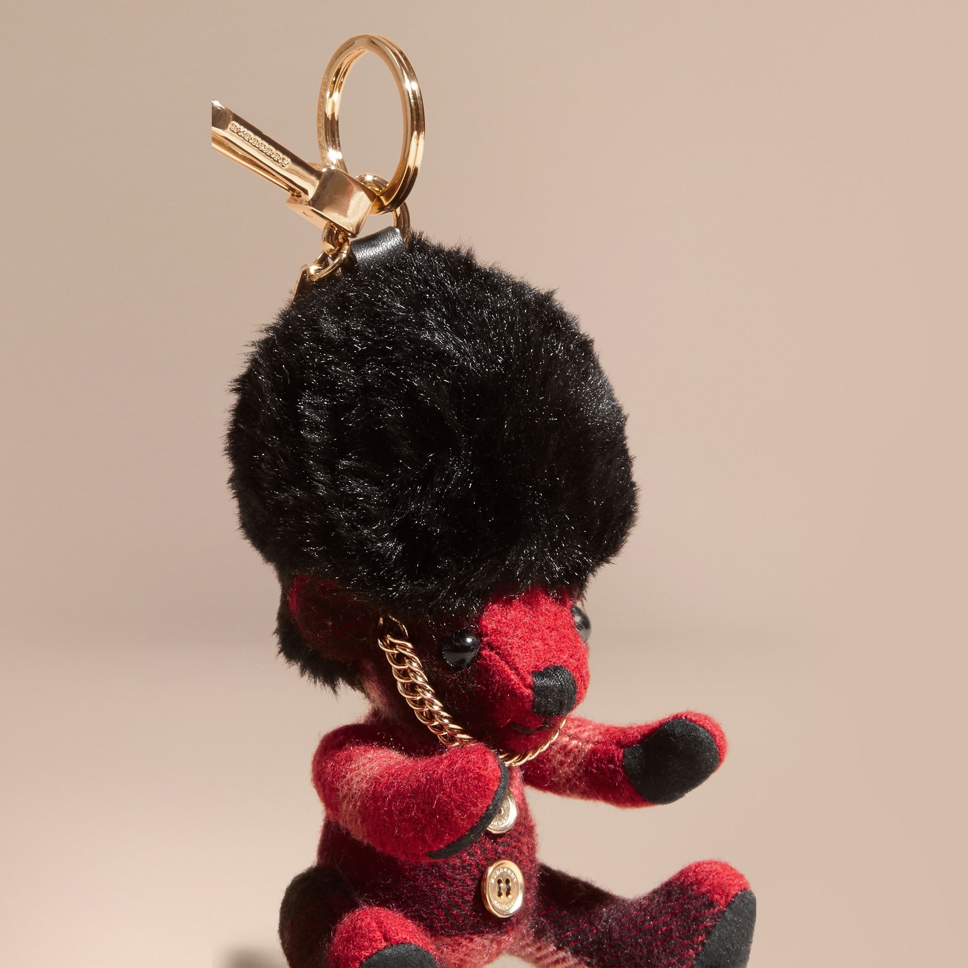Parade red The Guardsman Thomas Bear Charm in Check Cashmere - gallery image 4