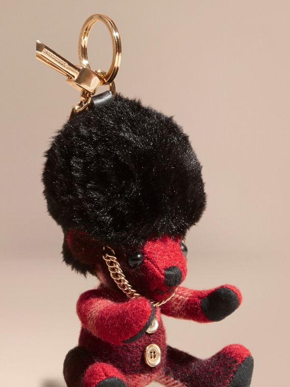 The Guardsman Thomas Bear Charm in Check Cashmere in Parade Red | Burberry - cell image 3
