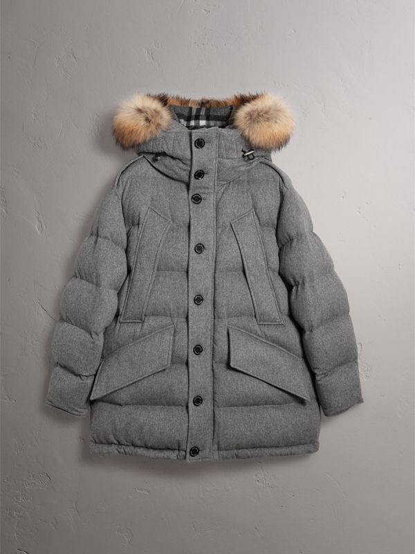 Detachable Fur Trim Cashmere Down-filled Parka in Mid Grey Melange - Men | Burberry - cell image 3