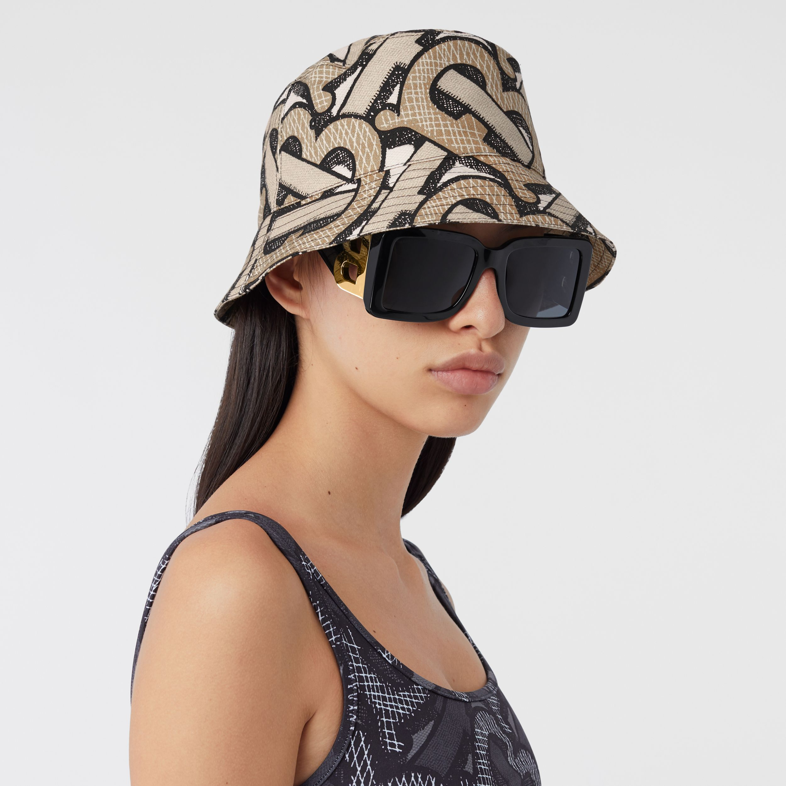 Monogram Print Cotton Canvas Bucket Hat in Dark Beige | Burberry - 3