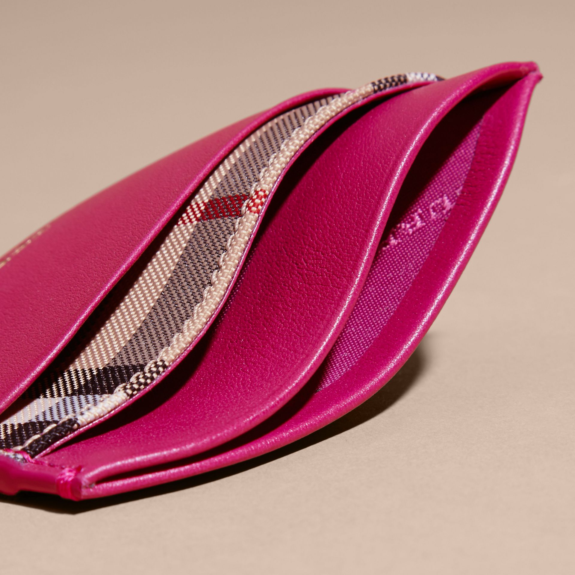 Brilliant fuchsia Check and Leather Card Case Brilliant Fuchsia - gallery image 5