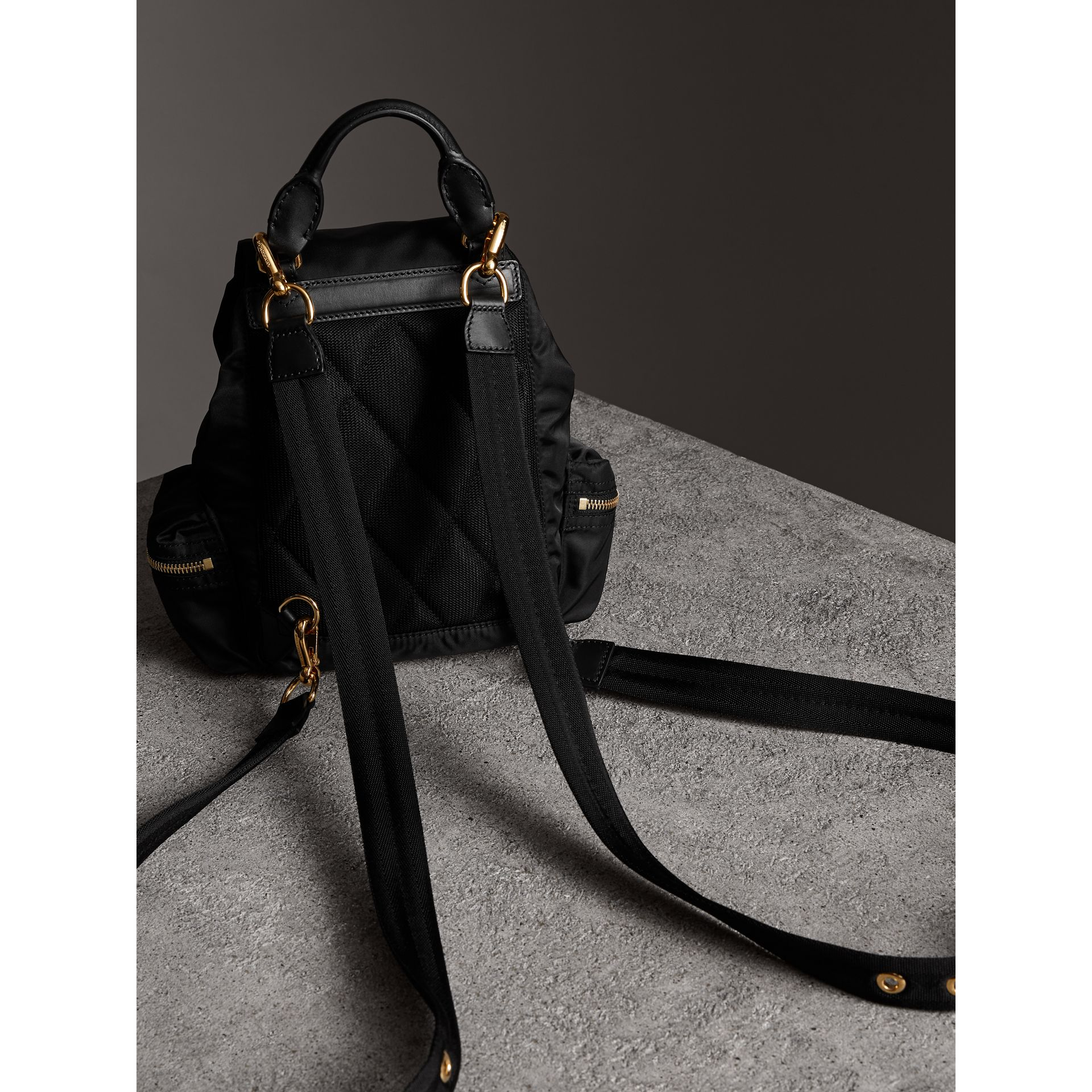 The Crossbody Rucksack in Nylon and Leather in Black - Women | Burberry United Kingdom - gallery image 4
