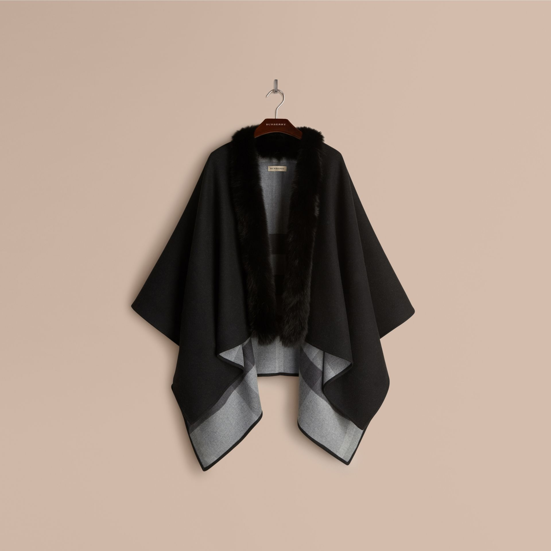Charcoal Fur-trimmed Merino Wool Poncho - gallery image 4