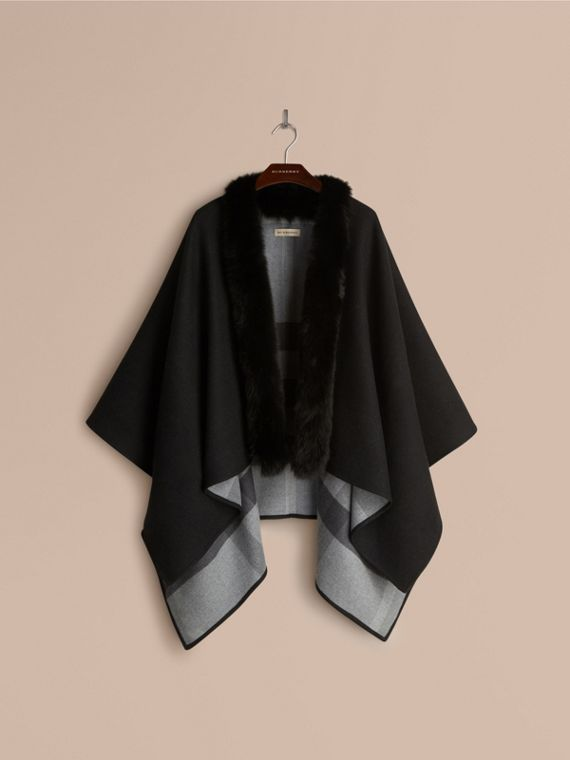Charcoal Fur-trimmed Merino Wool Poncho - cell image 3