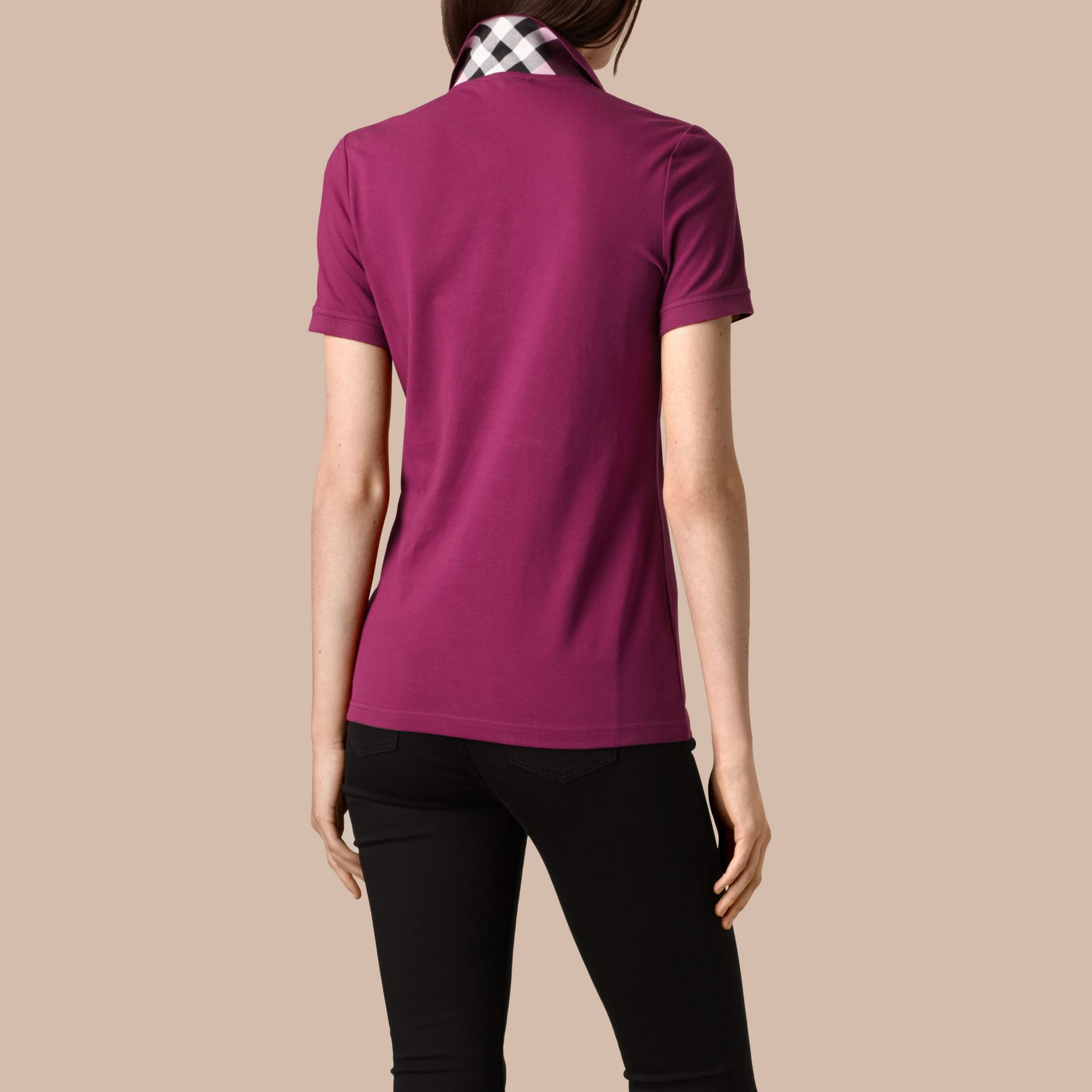 Check Trim Stretch Cotton Piqué Polo Shirt in Magenta Pink - Women | Burberry - gallery image 3