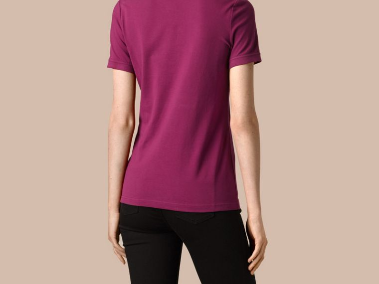 Check Trim Stretch Cotton Piqué Polo Shirt in Magenta Pink - cell image 2