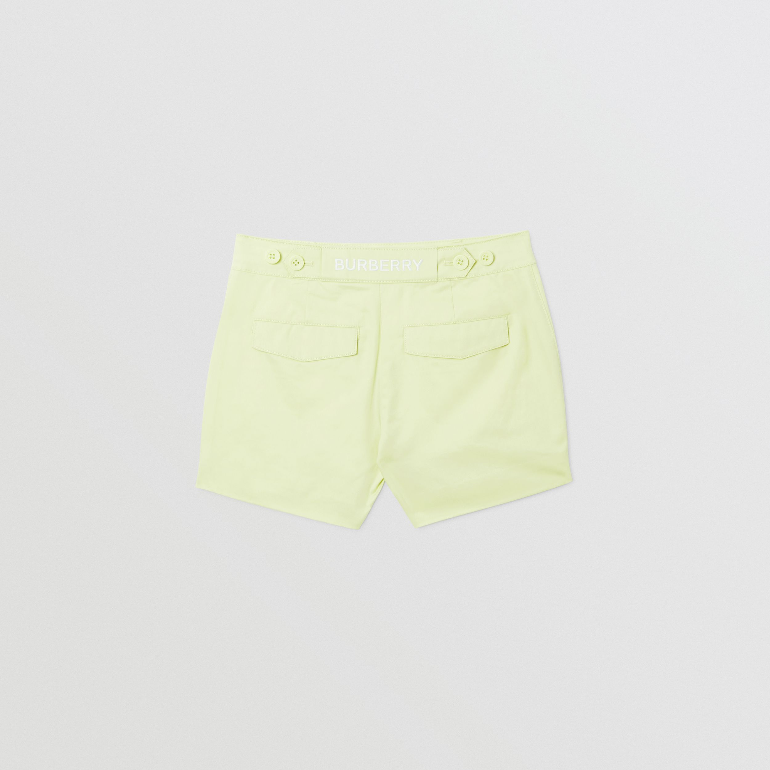 Embroidered Logo Cotton Shorts in Pistachio | Burberry - 4