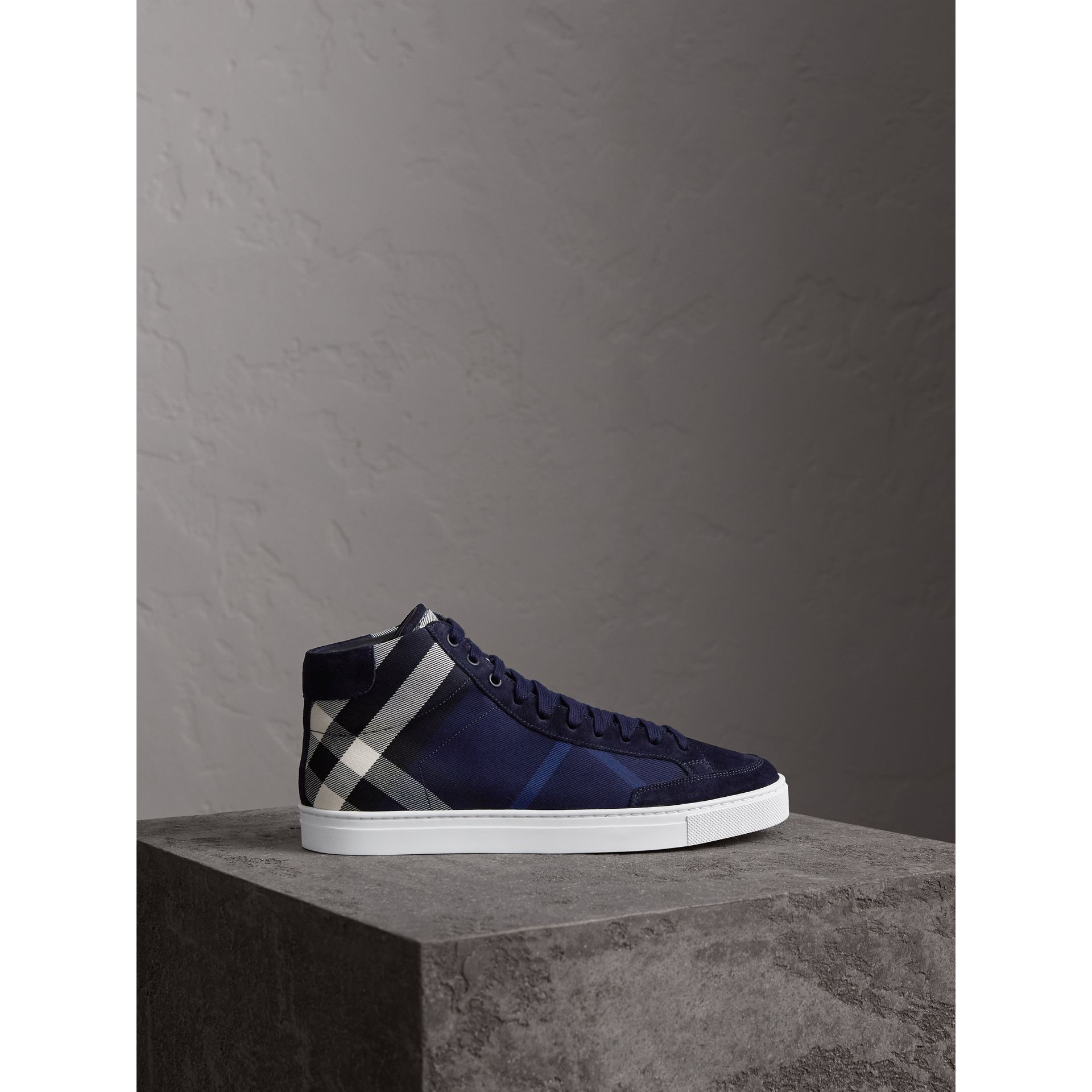 House Check Cotton and Calf Suede High-top Trainers in Navy - Men | Burberry - gallery image 5