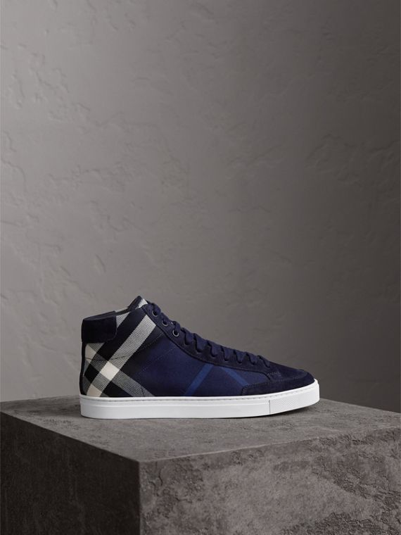 House Check Cotton and Calf Suede High-top Trainers in Navy - Men | Burberry - cell image 3