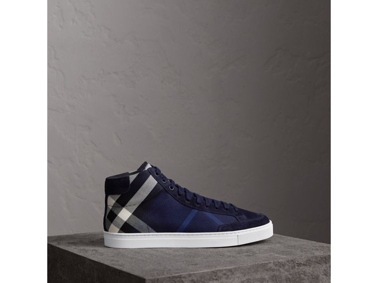 House Check Cotton and Calf Suede High-top Trainers in Navy - Men | Burberry - cell image 4