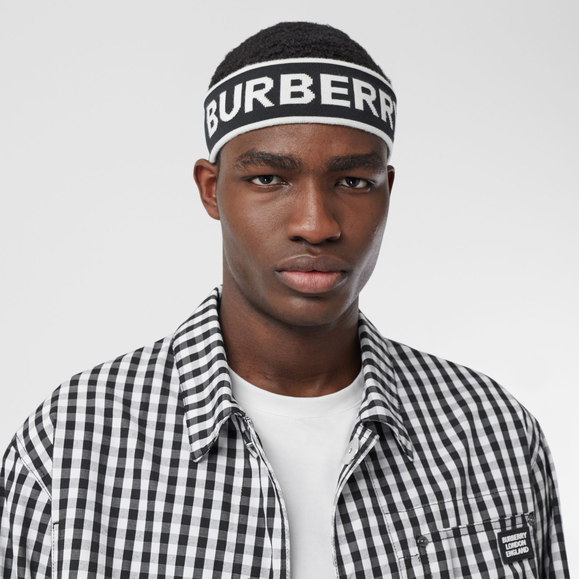 Logo Intarsia Wool Blend Headband in Black/white | Burberry Canada - gallery image 3