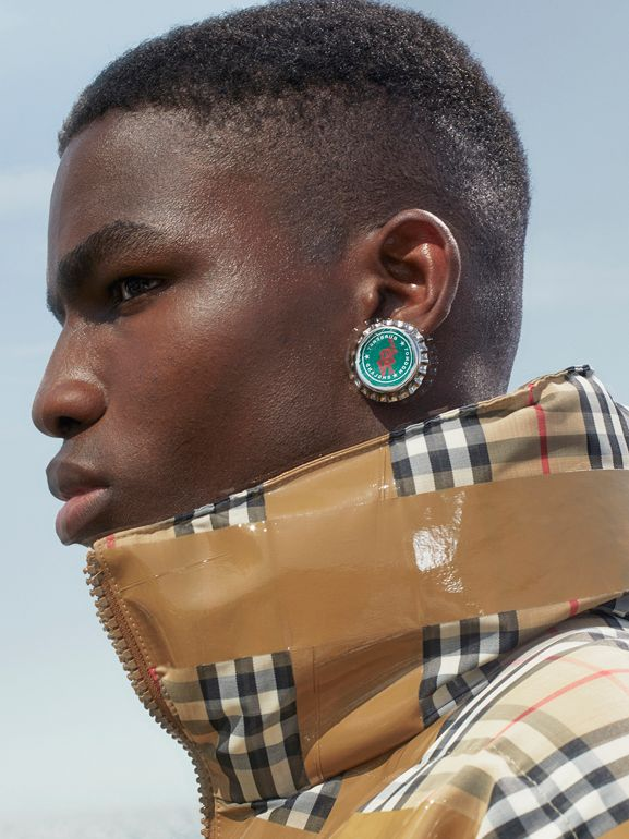 Palladium-plated Bottle Cap Earrings in Palladio - Men | Burberry - cell image 1