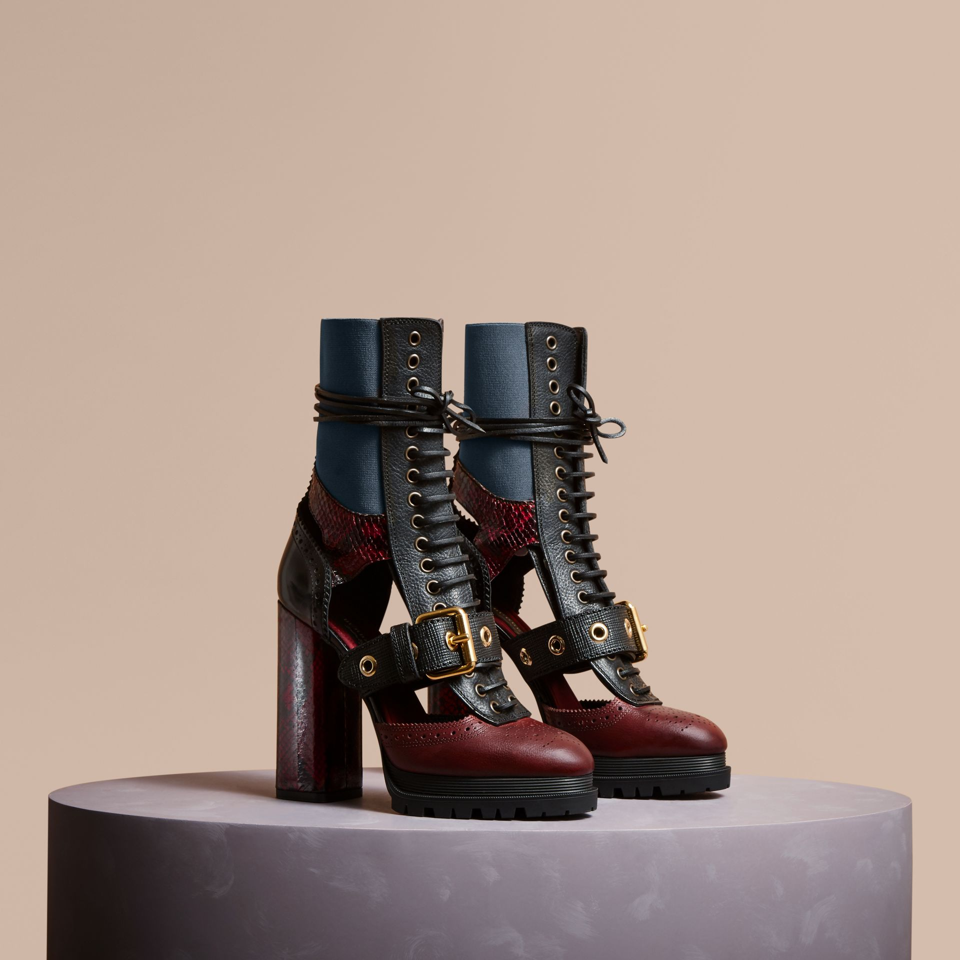 Leather and Snakeskin Cut-out Platform Boots Burgundy Red - gallery image 1