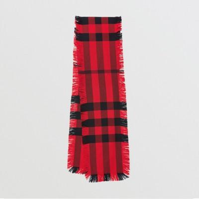 Burberry - Écharpe en laine à motif check et à franges - 1