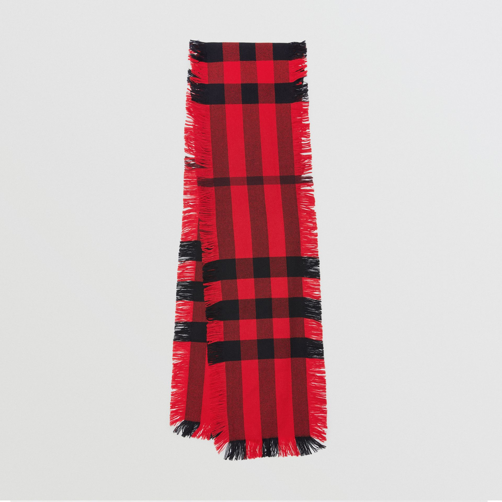 Fringed Check Wool Scarf in Military Red | Burberry - gallery image 0