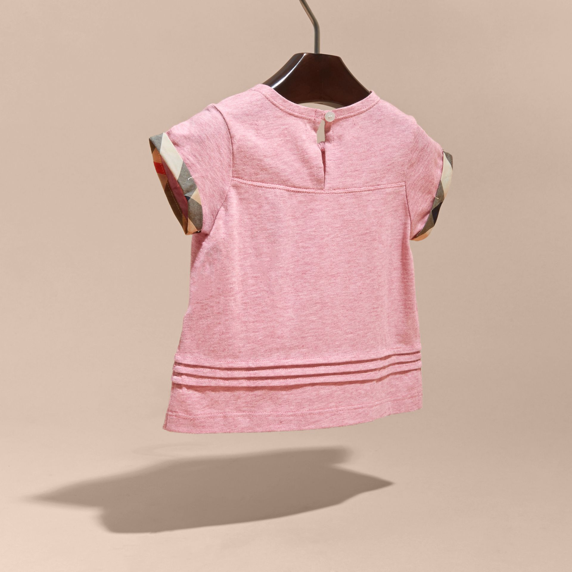 Pleat and Check Detail Cotton T-shirt in Light Copper Pink Melange | Burberry Canada - gallery image 4