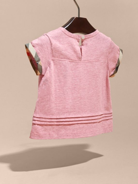 Pleat and Check Detail Cotton T-shirt in Light Copper Pink Melange | Burberry Canada - cell image 3