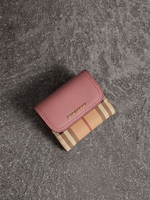 Haymarket Check and Leather Wallet - Women | Burberry