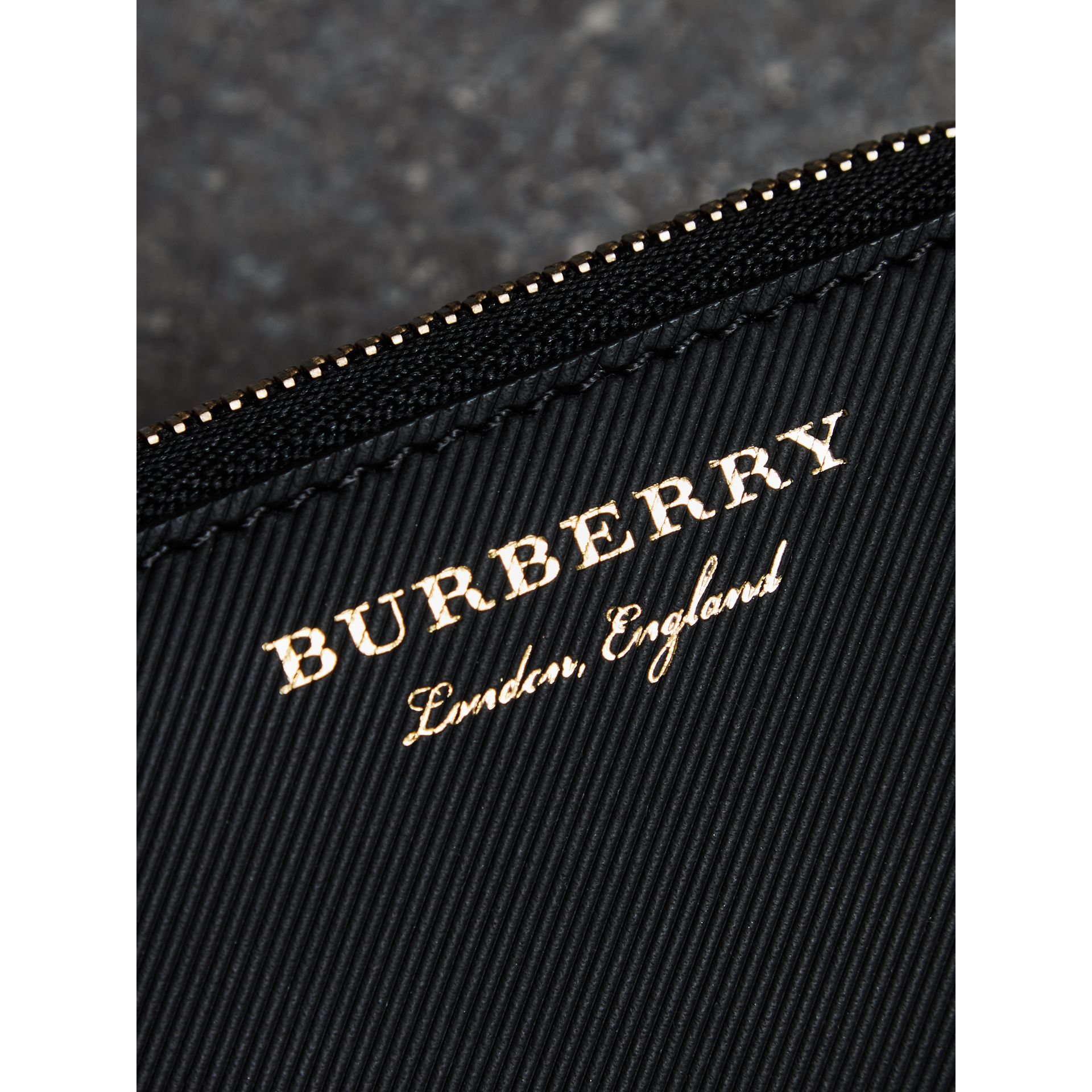 Trench Leather Ziparound Coin Case in Black - Men | Burberry - gallery image 1