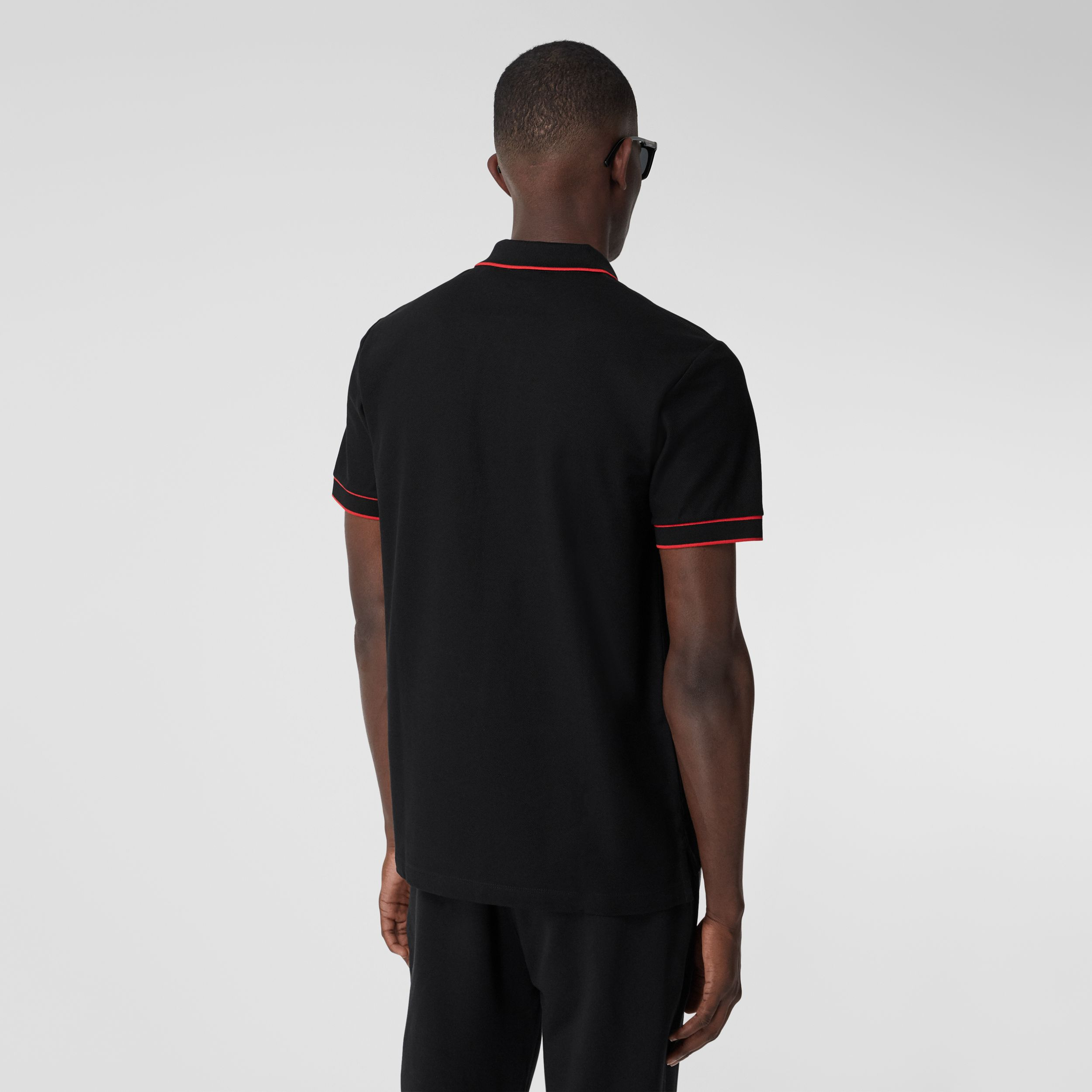 Icon Stripe Detail Cotton Zip-front Polo Shirt in Black - Men | Burberry United Kingdom - 3
