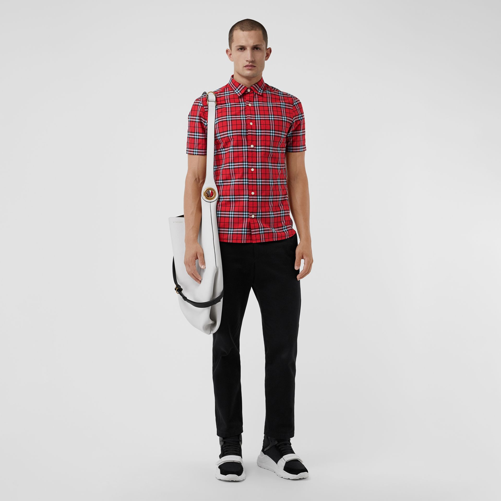 Short-sleeve Check Cotton Shirt in Bright Red | Burberry Australia - gallery image 0