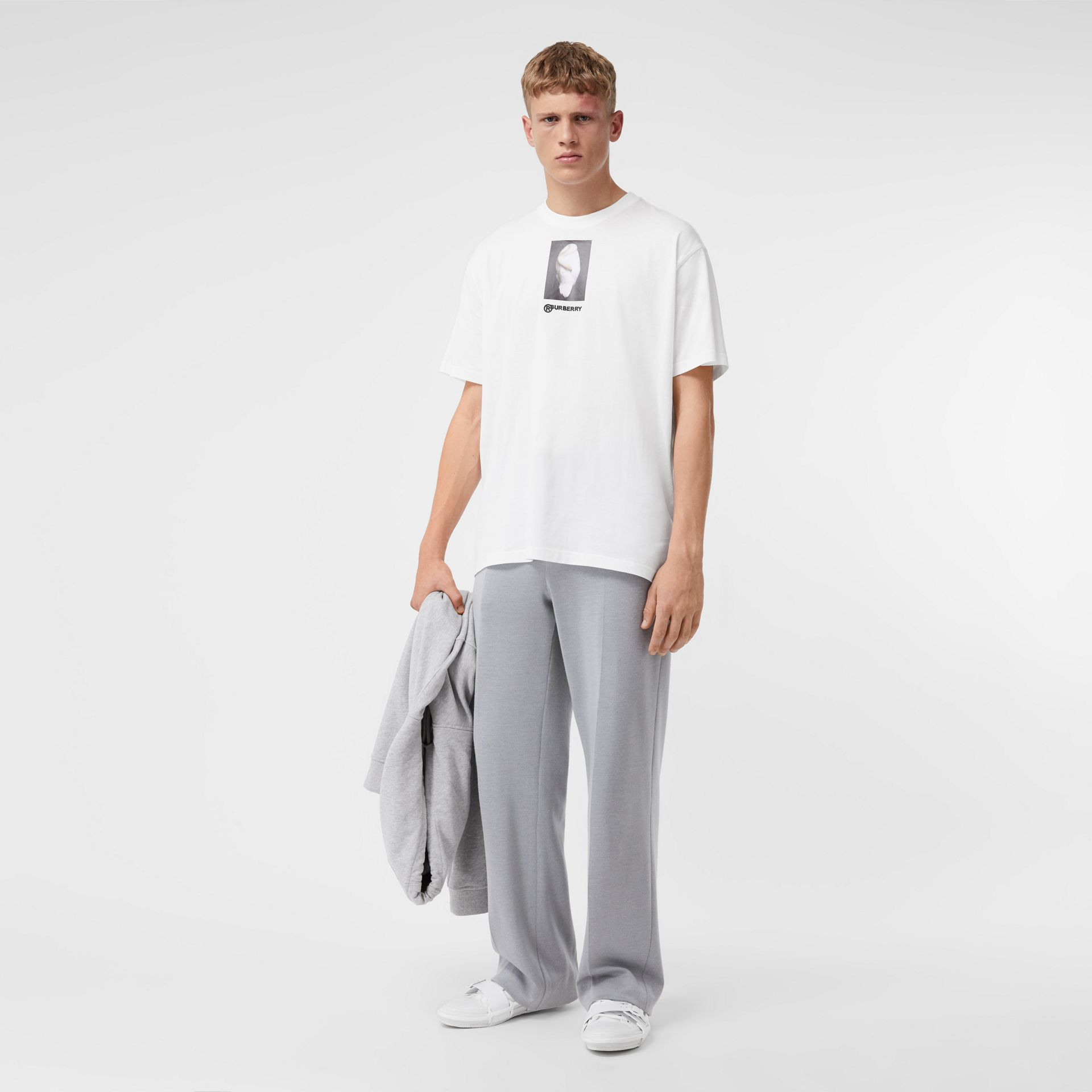 Montage Print Cotton Oversized T-shirt in Optic White | Burberry United Kingdom - gallery image 3