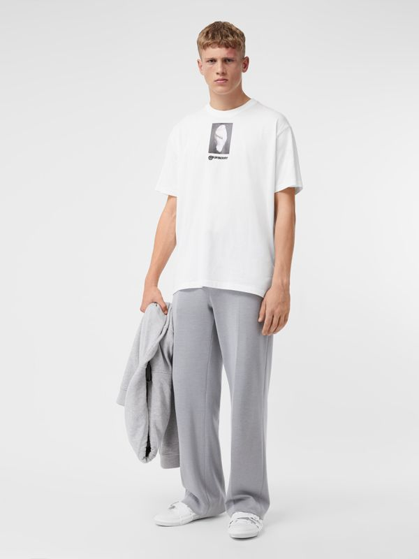Montage Print Cotton Oversized T-shirt in Optic White | Burberry - cell image 3