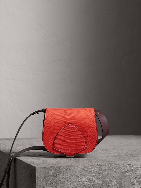 The Satchel in Lizard in Coral Red