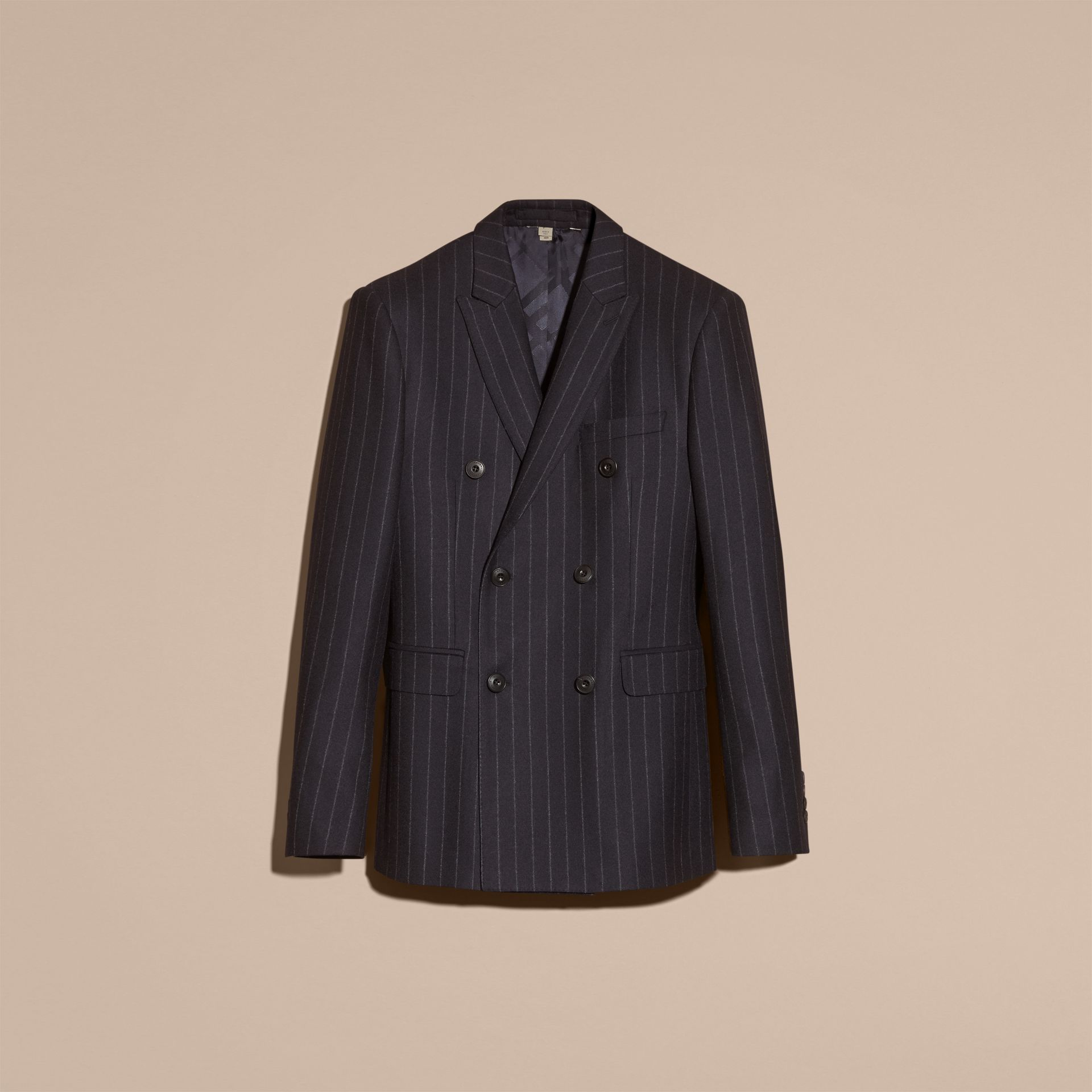 Navy Slim Fit Double-breasted Pinstripe Wool Suit - gallery image 4