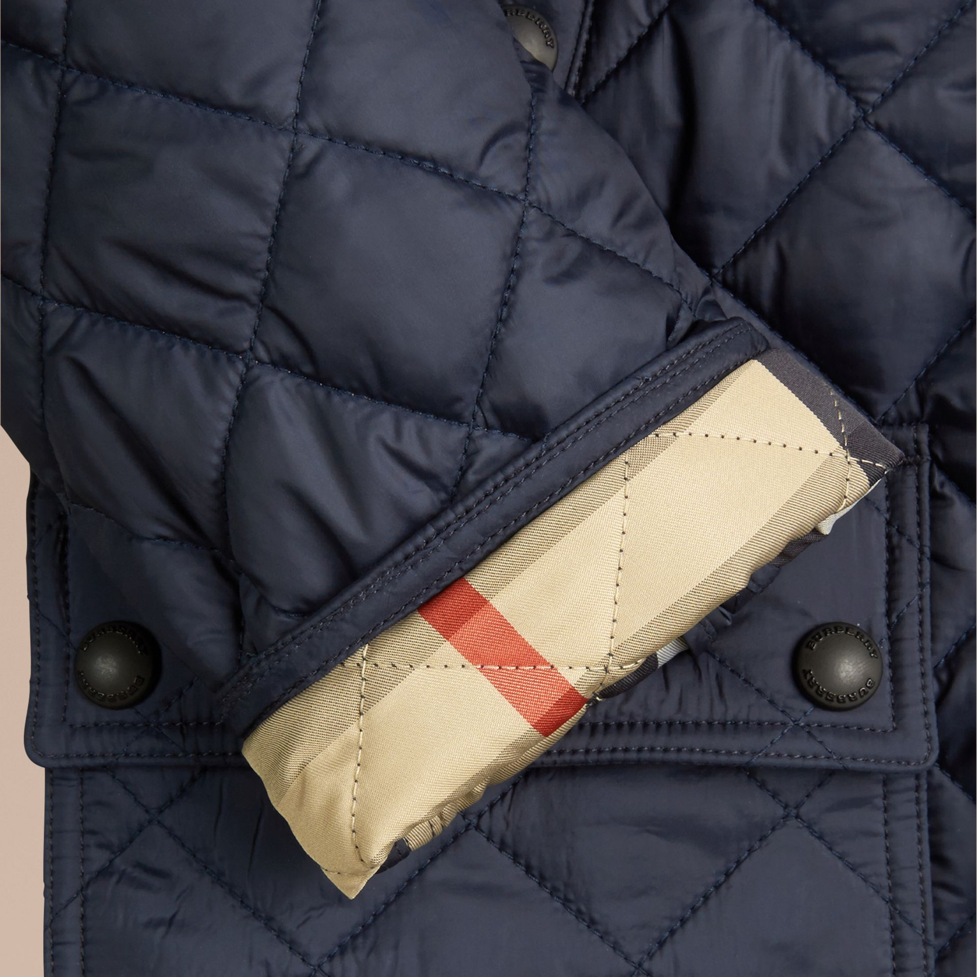 Detachable Hood Lightweight Quilted Jacket Ink Blue - gallery image 2