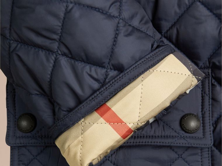 Detachable Hood Lightweight Quilted Jacket in Ink Blue - Boy | Burberry - cell image 1
