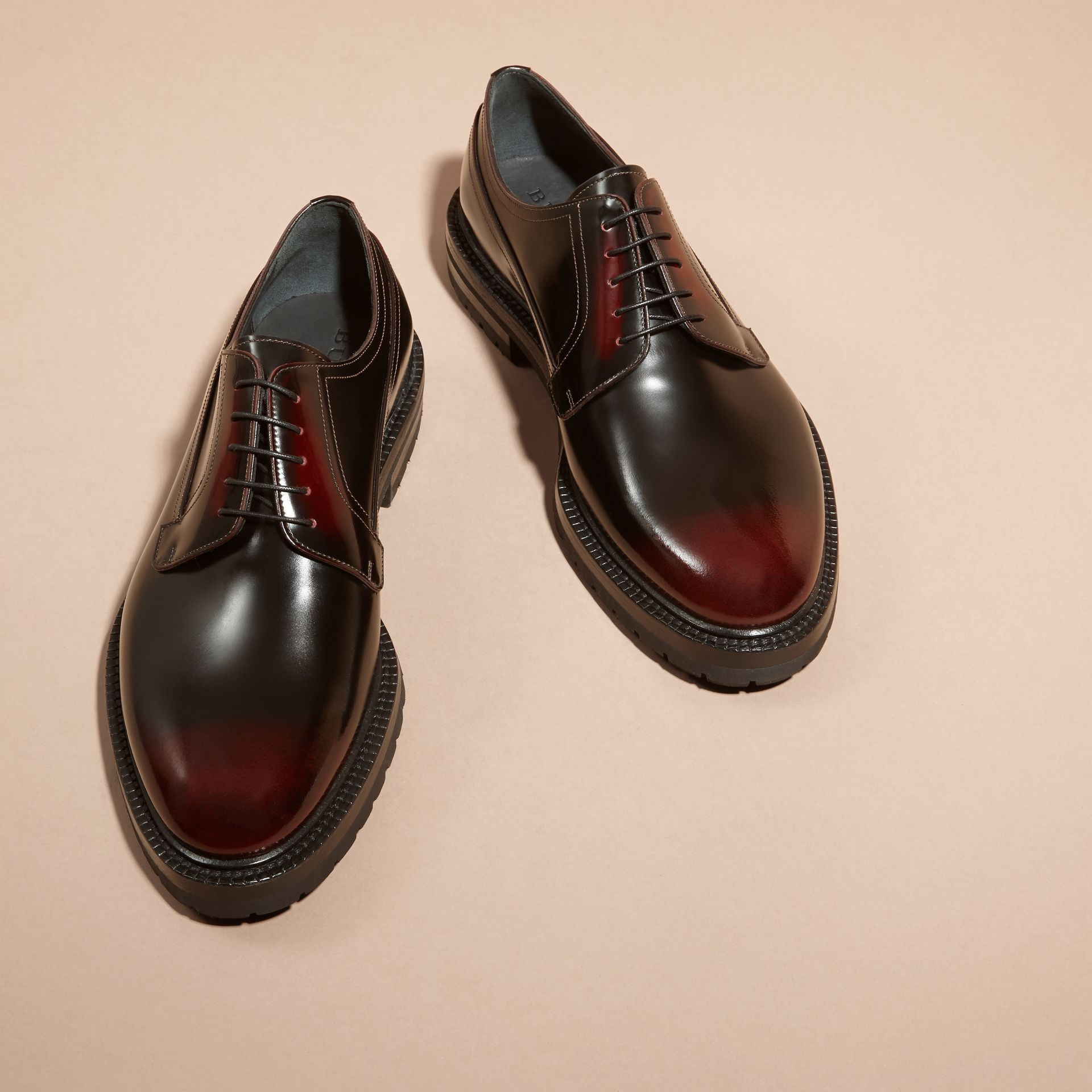 Bordeaux Burnished Leather Derby Shoes Bordeaux - gallery image 3
