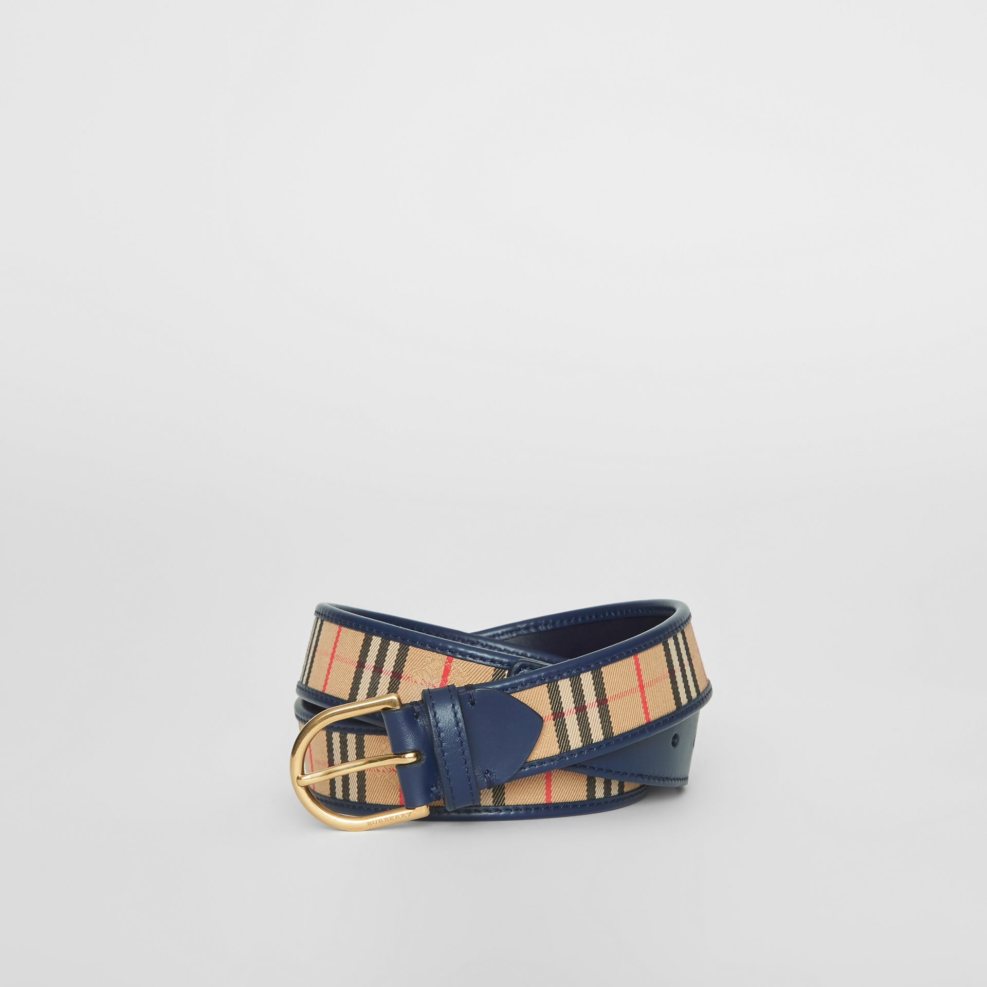 1983 Check and Leather D-ring Belt in Ink Blue - Men | Burberry Singapore - gallery image 0