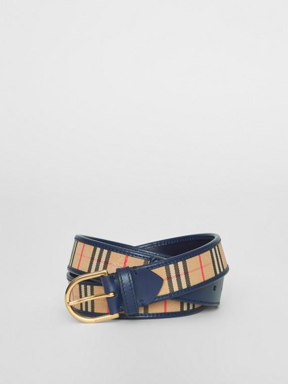 Gürtel mit D-Ring aus karierter Baumwolle und Leder (Tintenblau)
