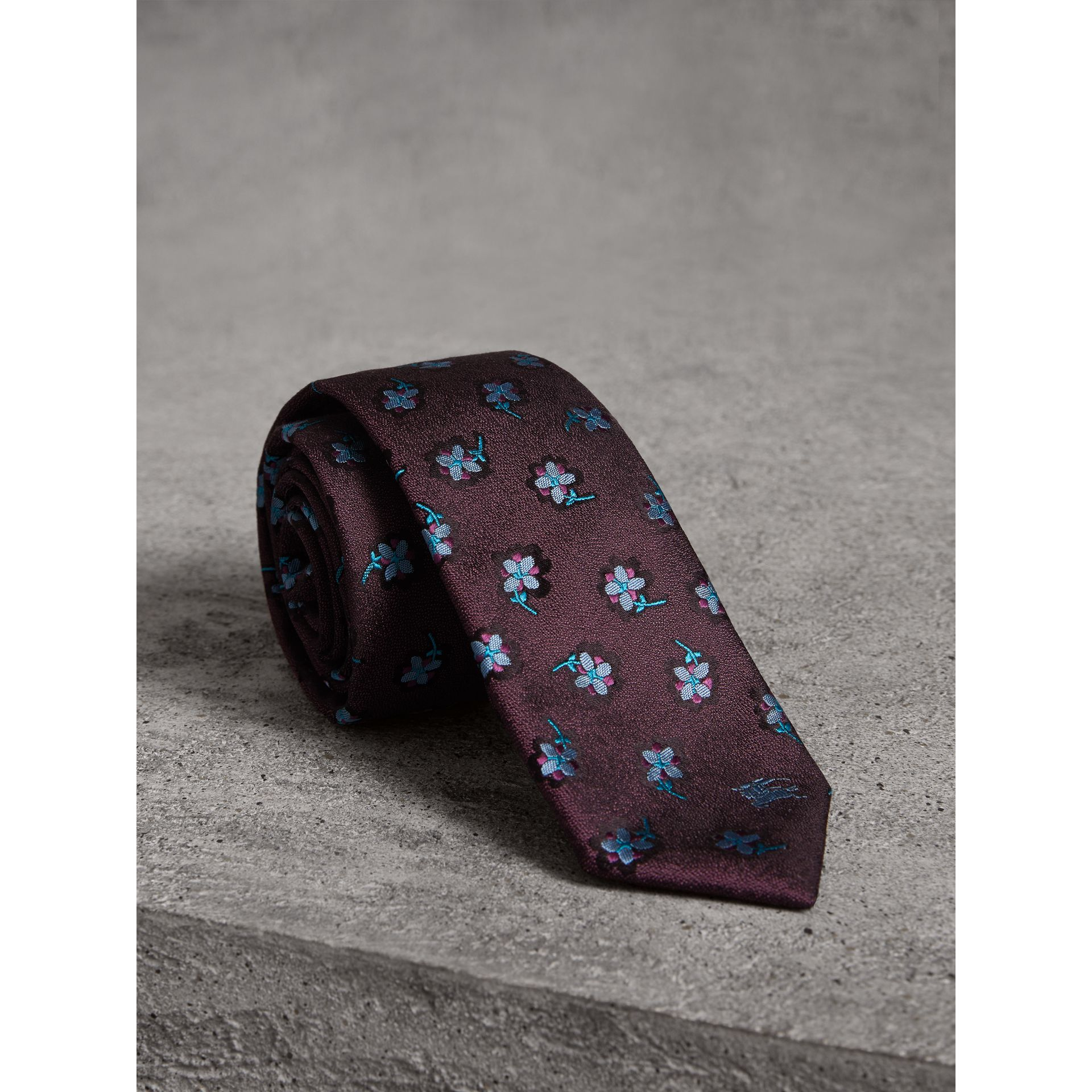 Slim Cut Floral Silk Brocade Tie in Purple Grape - Men | Burberry - gallery image 0