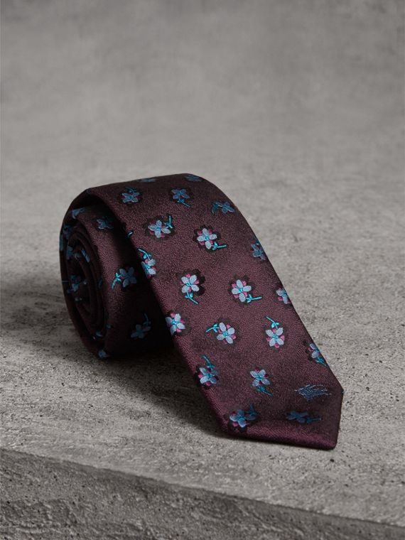 Slim Cut Floral Silk Brocade Tie in Purple Grape