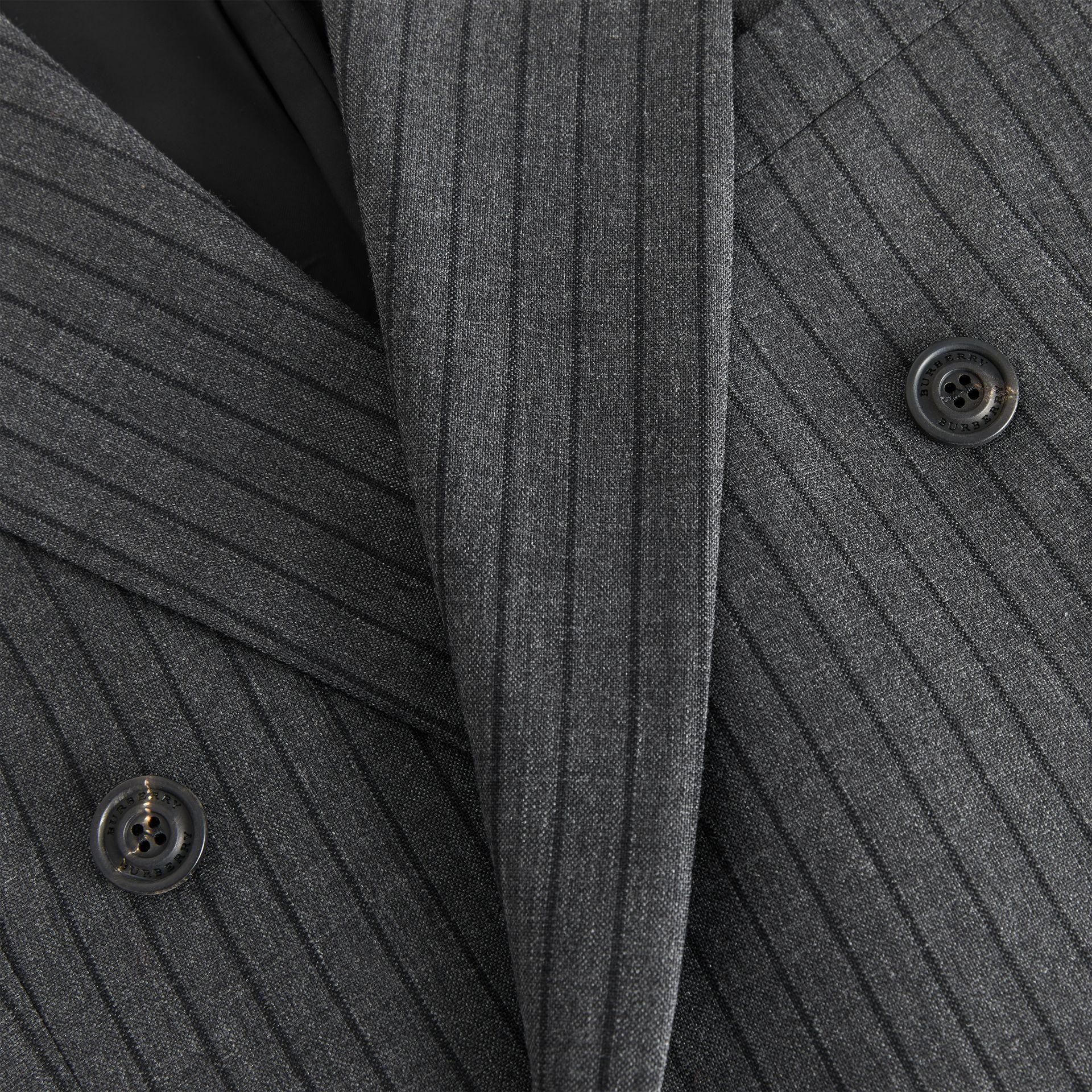 Classic Fit Pinstriped Wool Tailored Jacket in Mid Grey Melange - Men | Burberry - gallery image 6