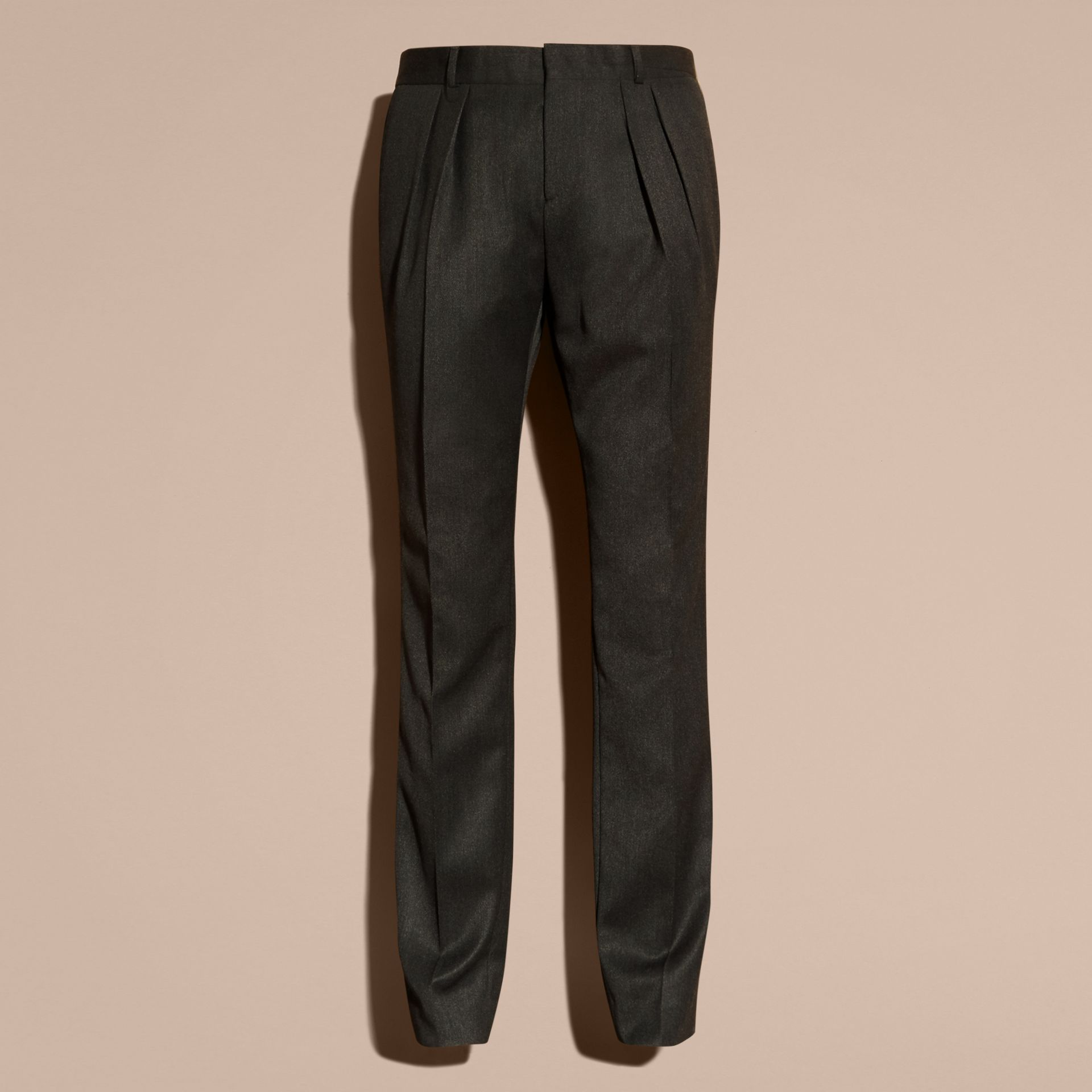 Modern Fit English Wool Tailored Trousers Dark Grey Melange - gallery image 4
