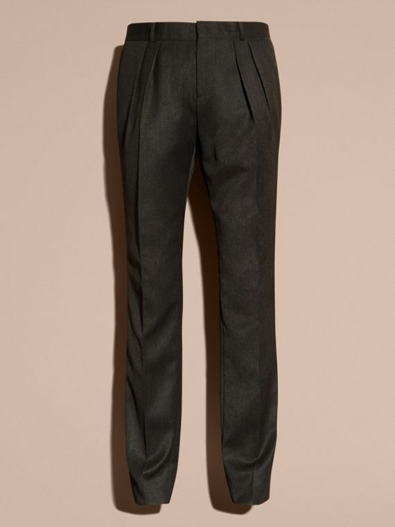 Modern Fit English Wool Tailored Trousers Dark Grey Melange - cell image 3