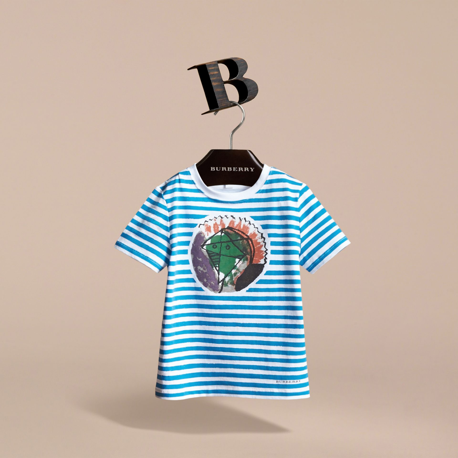 Pallas Heads Print Striped Cotton T-shirt in White - Boy | Burberry - gallery image 3