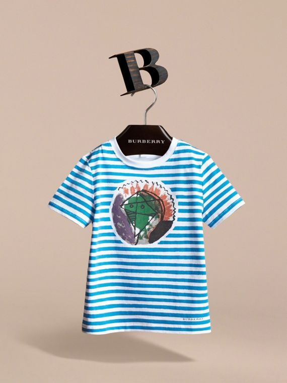 Pallas Heads Print Striped Cotton T-shirt in White - Boy | Burberry - cell image 2