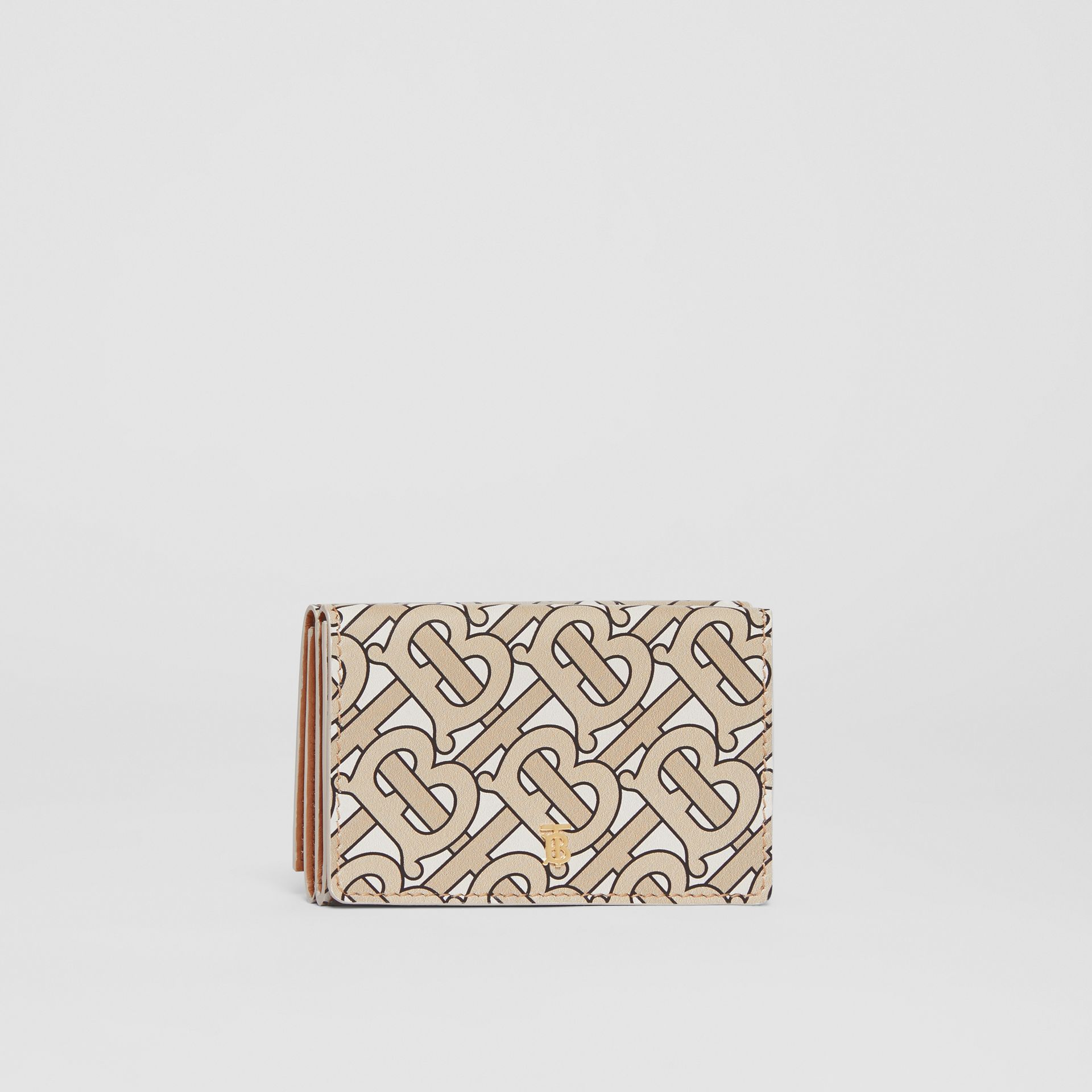 Small Monogram Print Leather Folding Wallet in Beige - Women | Burberry United Kingdom - gallery image 4