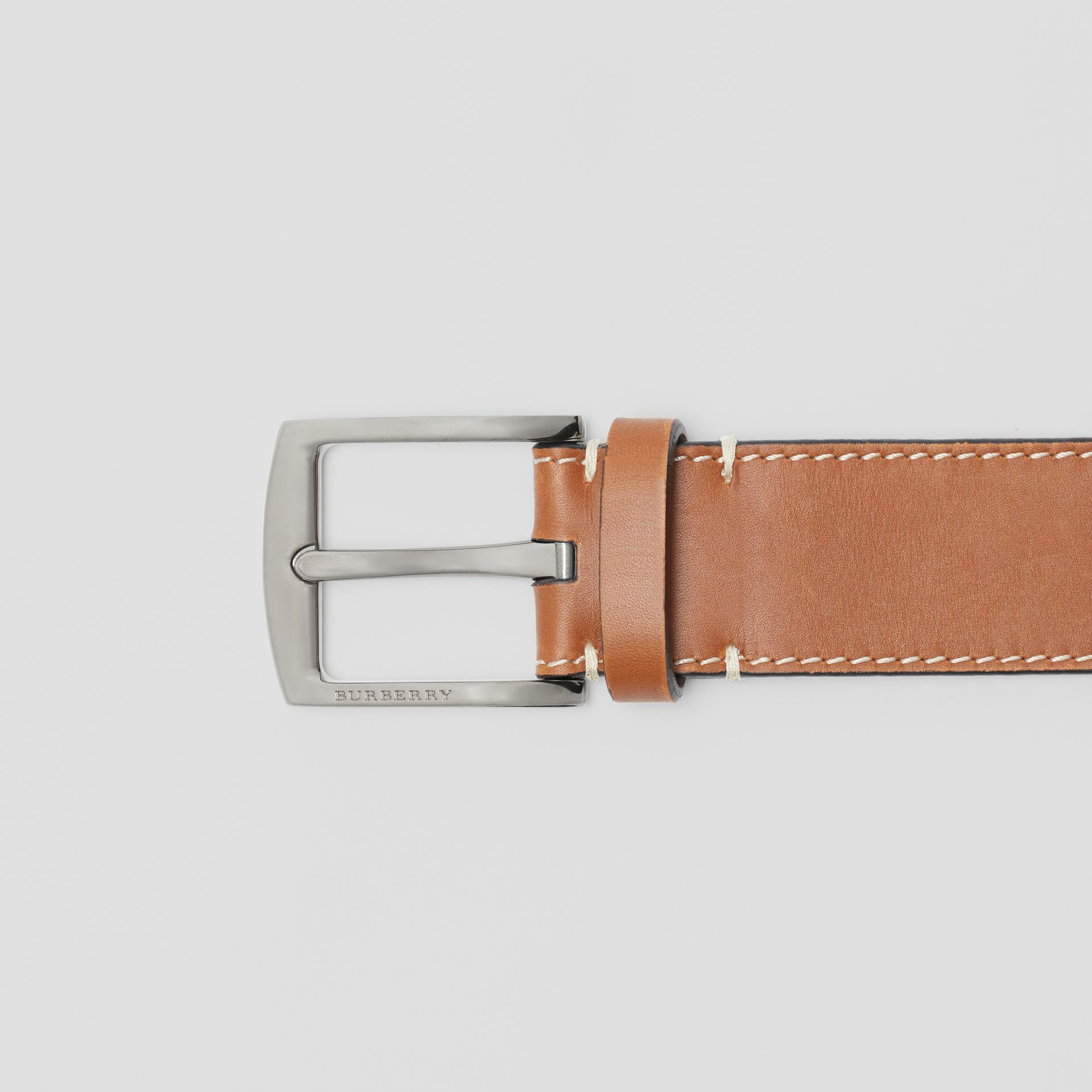 Topstitched Leather Belt in Tan - Men | Burberry United States - gallery image 1