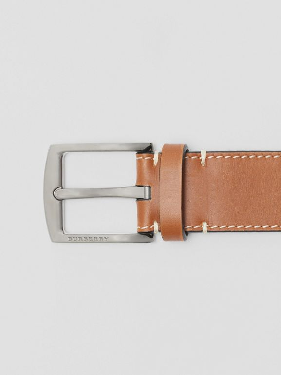 Topstitched Leather Belt in Tan - Men | Burberry United States - cell image 1