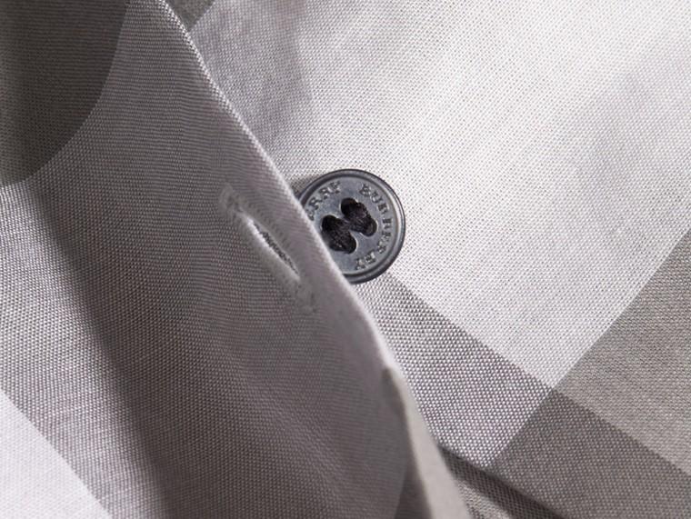 Gris clair Chemisier en coton à motif check avec manches bouffantes Gris Clair - cell image 1