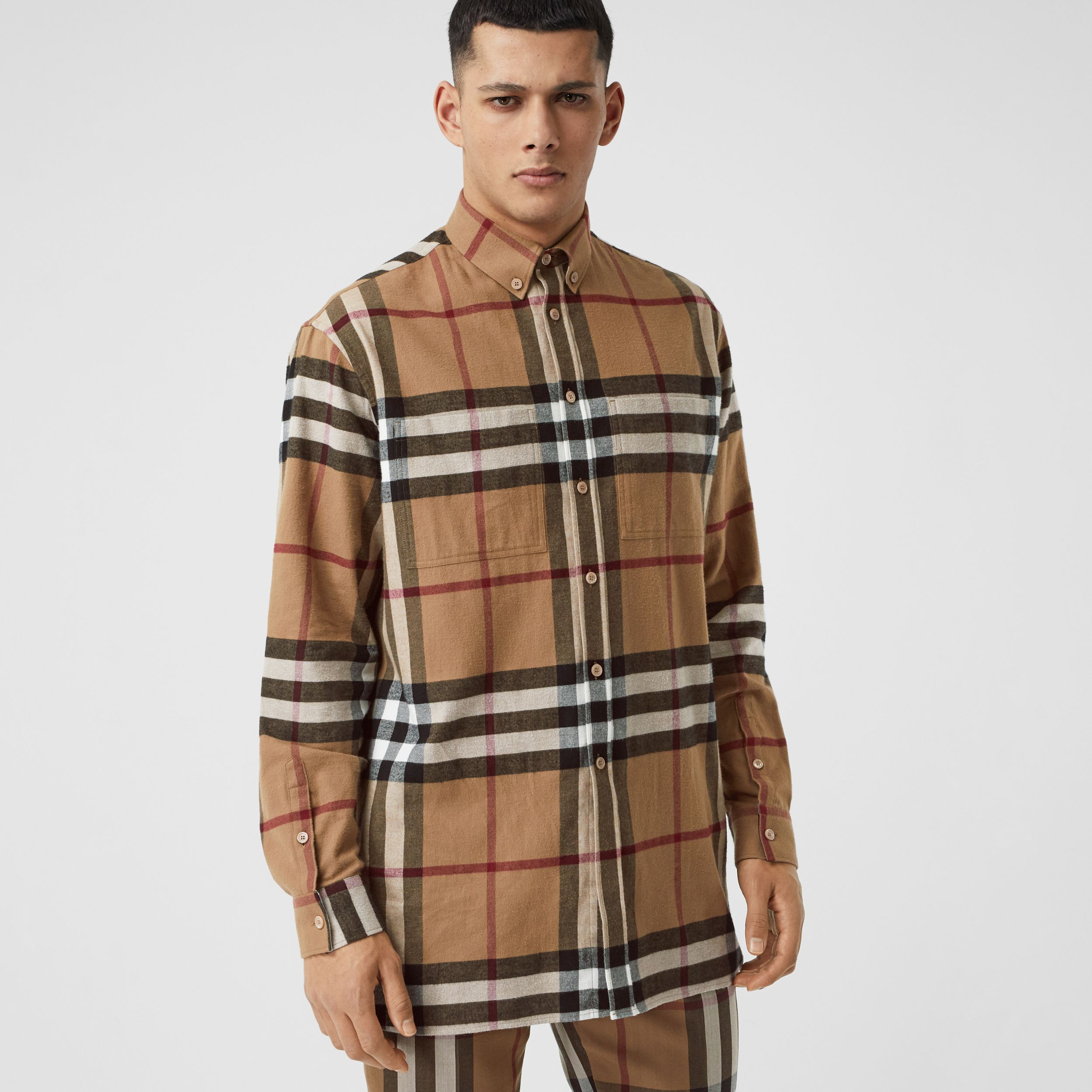 Relaxed Fit House Check Cotton Flannel Shirt in Birch Brown | Burberry - 1