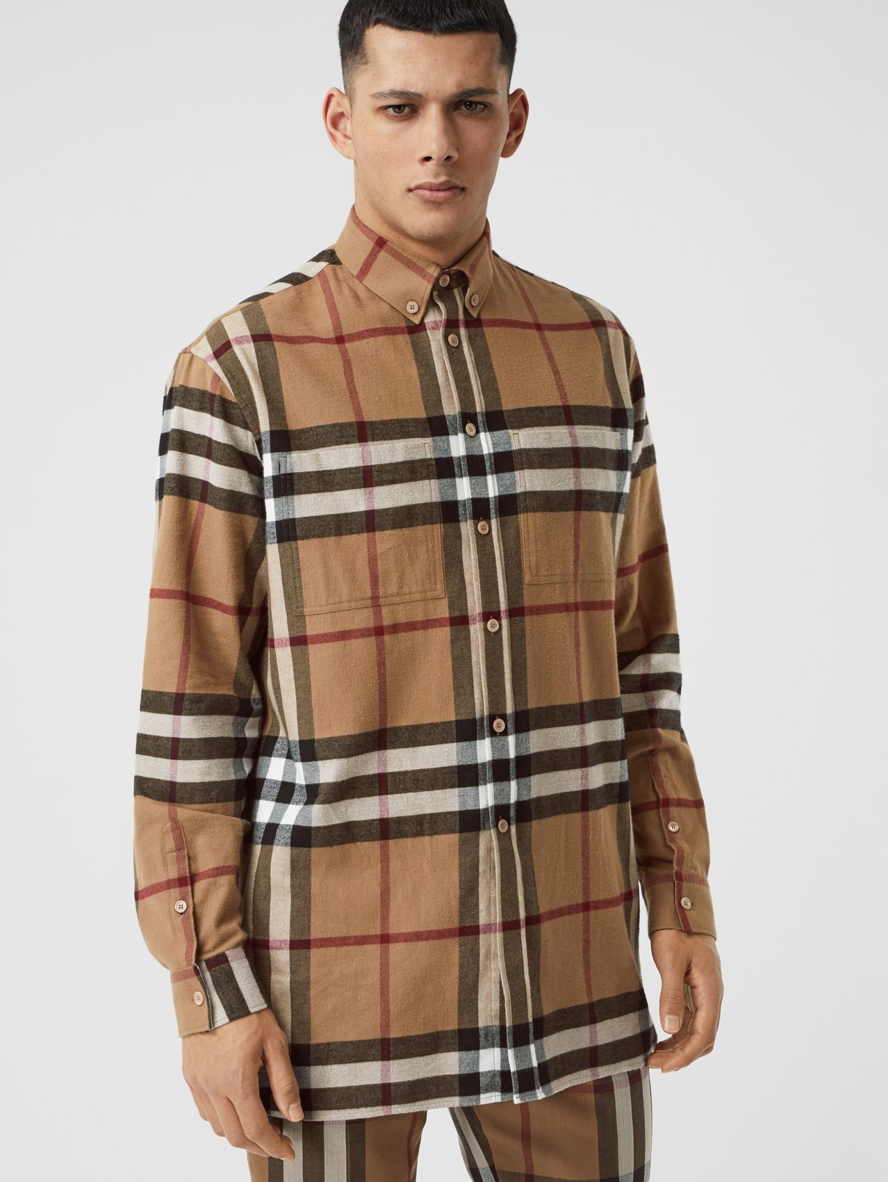 Relaxed Fit House Check Cotton Flannel Shirt in Birch Brown