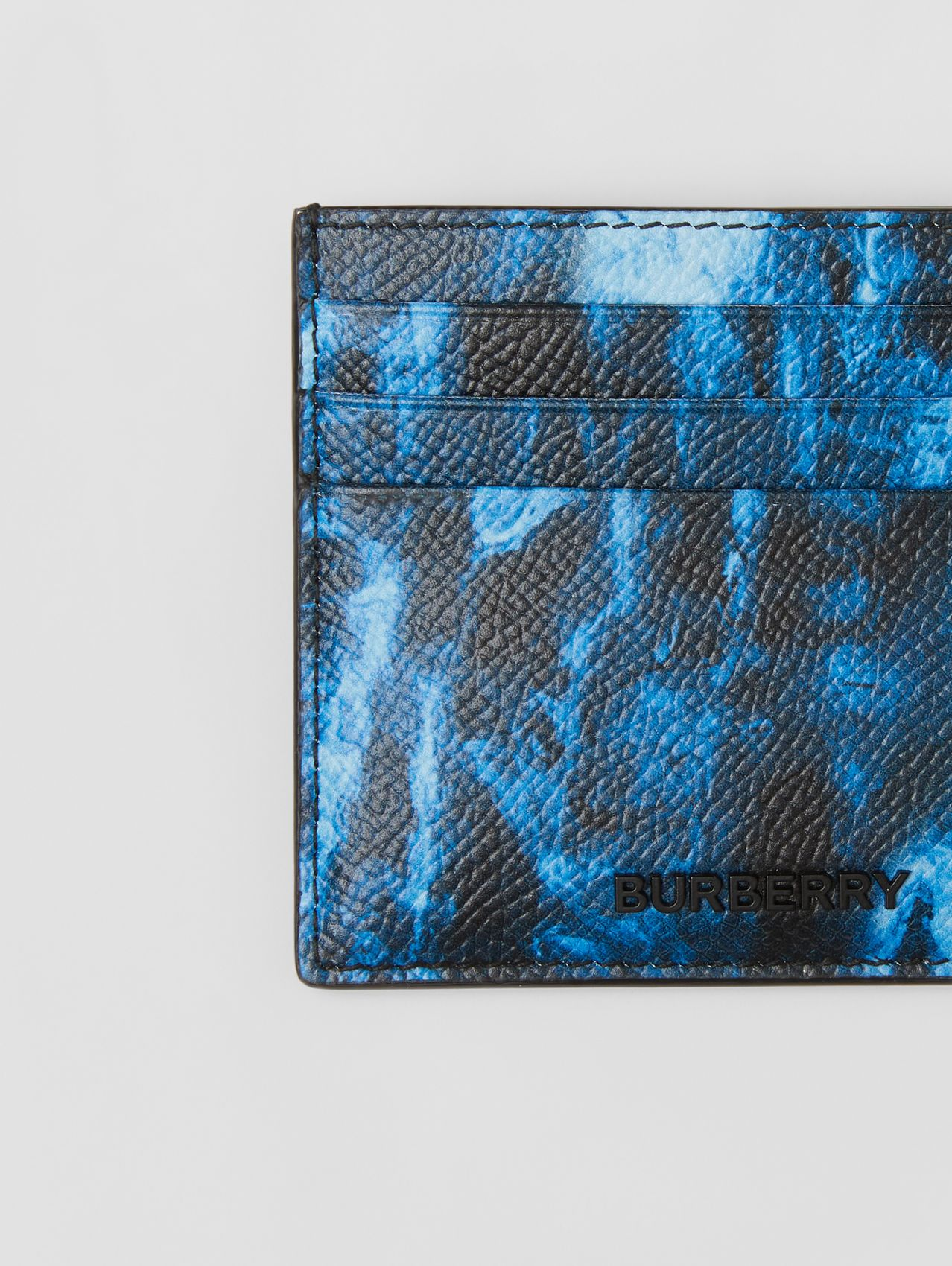 Ripple Print Leather Card Case in Midnight Navy